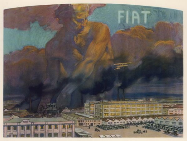FIAT FACTORY, TURIN, ITALY A powerful atmospheric, male figure looms over the industrious factory site and lends a hand with its construction