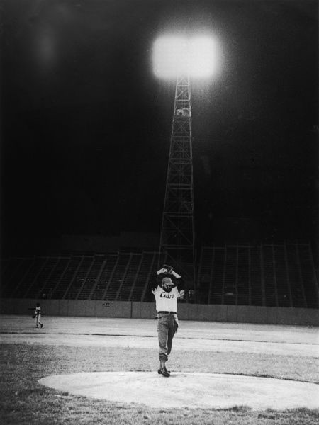 Fidel Castro stands on the pitcher's mound at the Cerro, Havana's baseball stadium, where he often went to pitch an innings. *UNAVAILABLE FOR USE IN ASIA AT PRESENT*