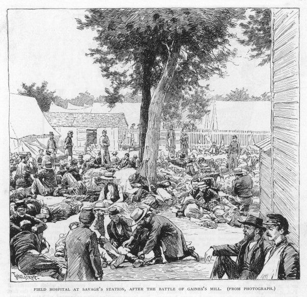 Lee loses 9000 men, Porter 4000 in the inconclusive battle of Gaines' Mill, Virginia : casualties are treated in a field hospital at Savage's Station