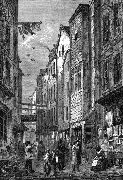 A London slum street - Field Lane, Holborn : note the business premises of Scrooge and Fagan... Date: circa 1840