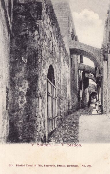 5th Station of the Cross on Via Dolorosa - Jerusalem, Israel Date: circa 1902