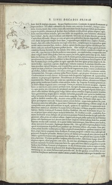 Page of text with marginal drawing showing a horseman outside Rome, and a fight between the horseman and another figure. The horse has collapsed under its rider. This seems to refer to the fight between Romulus and Mettius Curtius. 1543