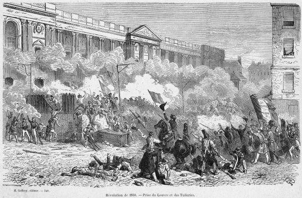 Insurgents attack the royal residences of the Tuileries and Louvre