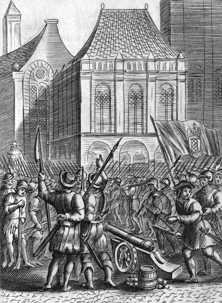 Street fighting between the Anabaptists and the bourgeois citizens. Date: 1535