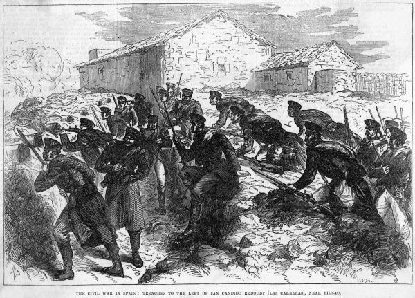 Fierce fighting between government troops and Carlists at Carreras, near Bilbao : federalists make a sortie from their entrenchment
