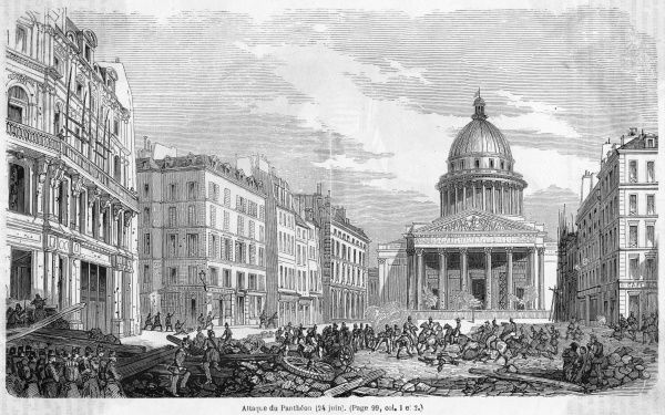 Street fighting in front of the Pantheon, Paris : the remains of a barricade lie in the foreground