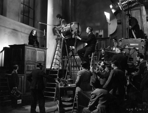 Scene during the filming of the movie 'Blanche Fury' directed by Marc Allegret and adapted from the novel by Joseph Shearing