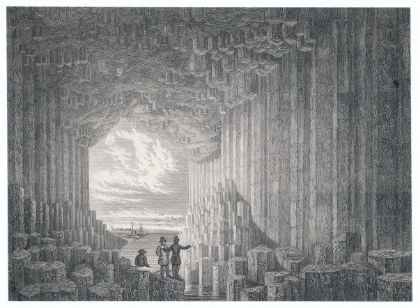 An interior view of the remarkable rock formation which forms Fingal's Cave, on the island of Staffa
