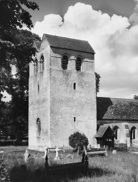 St. Bartholomew's Church, Fingest, Buckinghamshire, England, which has one of the finest Norman towers in England and has a rare double saddleback roof