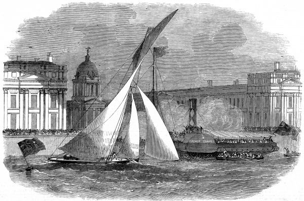 Engraving showing the yacht 'Julia' winning the Royal London Yacht Club Match by being first past the mark, River Thames off Greenwich, London, 1858. In the background one can see the paddle-steamer, 'Father Thames', filled with spectators