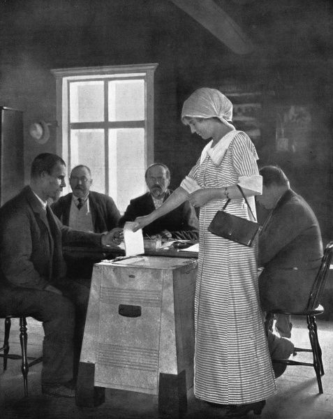 A Finnish woman puts her vote in the ballot box at an election. Finnish women had had the vote since 1905. 1913