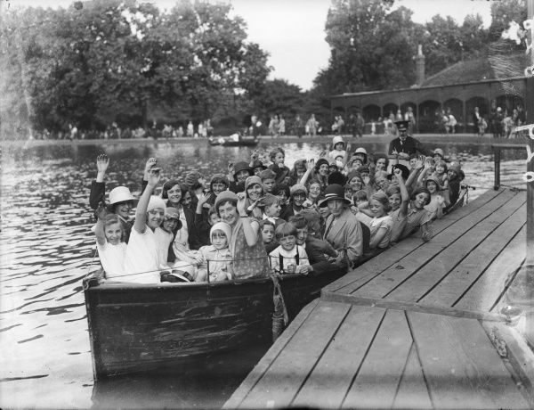 The first large pleasure boat launch on the lake at Finsbury Park, north London, England