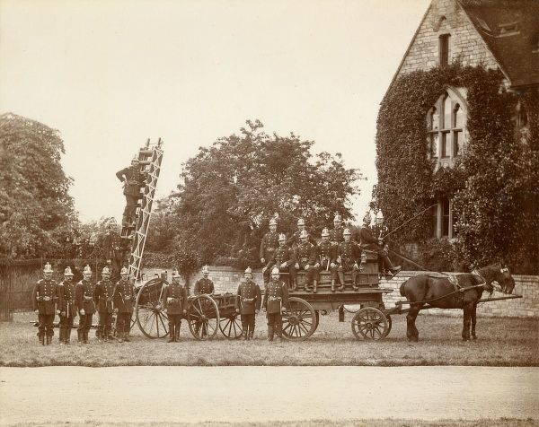 The Romsey Fire Brigade and their horse pulled engine