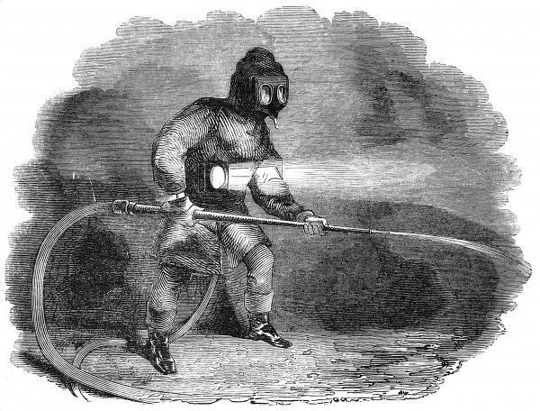 Engraving showing a member of the Fire Brigade in action, fighting a fire at Luton Hoo, 1843. This officer is shown with hose, lamp and breathing apparatus, with a hose feeding fresh air to his helmet