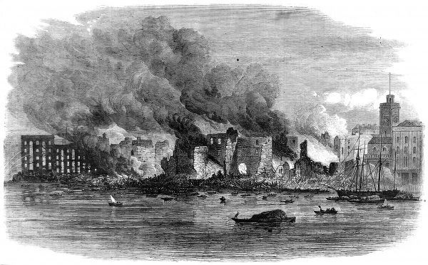 Engraving showing the large fire which burnt down Cotton's Wharf, Southwark, London, June 1861