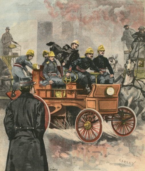 An electric fire engine of the Paris Fire Brigade, answering an emergency call.  1900