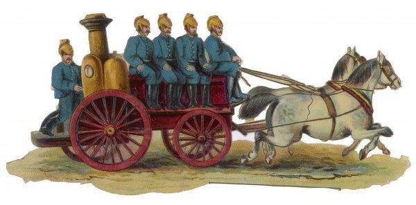 A horse-drawn fire engine canters to a blaze, with five firemen ready to go into action