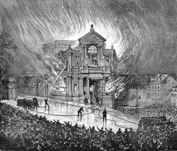 The Theatre Royal, Exeter, on fire. 187 people perish in the blaze. The previous theatre building had burnt down in 1885. Date: 5 September 1887