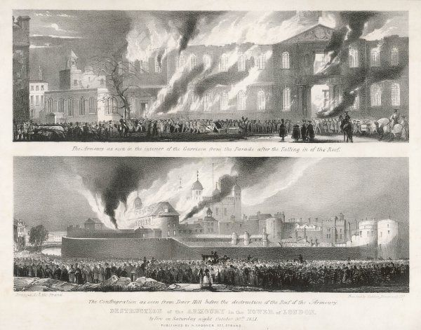 Two views of the great fire which destroyed much of the Armoury - as seen from within the Tower precinct, and a more distant view from Tower Hill