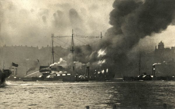 The fire which destroyed the Training Ship Wellesley, on the River Tyne at North Shields, Northumberland. In 1868, James Hall and other local businessmen set up a charity to provide shelter for Tyneside waifs and train young men for naval service