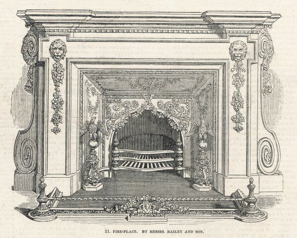 Fireplace by Messrs Bailey & Co displayed at the 1851 exhibition at Crystal Palace