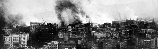 The conflagration which swept across the city from the harbour shore