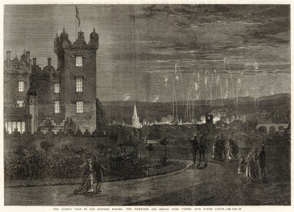 The Queen's visit to the Scottish border. Fireworks and beacons viewed from Floors Castle in Kelso on the occasion of Queen Victoria's visit