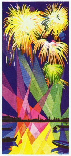 An art deco sketch of fireworks over the Lido and Venice Date: late 1920s