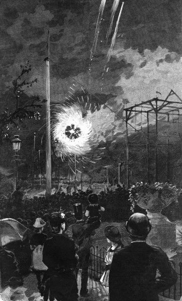 A Catherine Wheel and rockets delight visitors to the Tivoli Gardens, Copenhagen. Date: 1888
