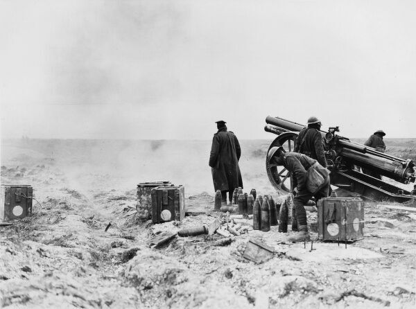A 60 pounder Mark II Battery in action in the open air near La Boisselle during the First Battle of Bapaume on the Western Front in France during World War I in March 1918