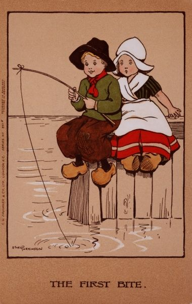 A little Dutch boy and girl sit fishing by some water, when there is a tug on the line -- the boy looks pleased, but the girl seems apprehensive