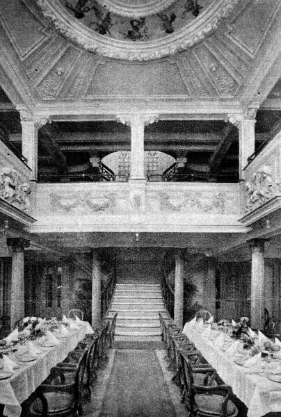 The dining hall from the lost liner Vestris. The liner was sailing from New York, bound for Barbados. On the 11th November 1928 she sprang a leak during a storm and abandoned off the Virginia Capes