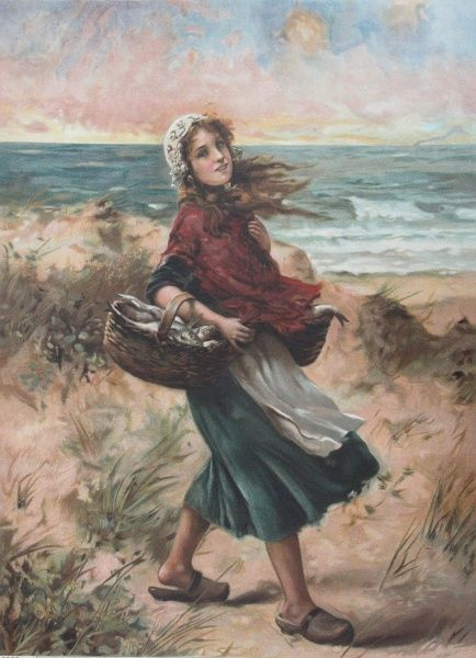 An illustration of a fisher girl walking among the sand dunes. Date: c.1900