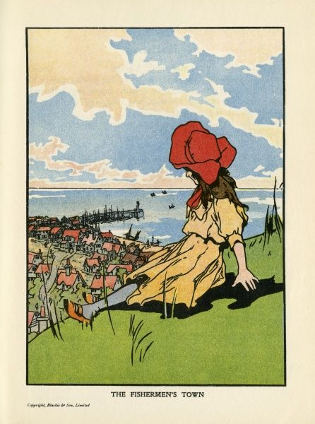 A Girl in a red bonnets sits on the hillside overlooking a coastal town, with fishing boats moored up against the harbour wall and pulled up on the beach