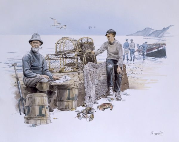 Fishermen with their pots and nets. Watercolour Painting by Malcolm Greensmith