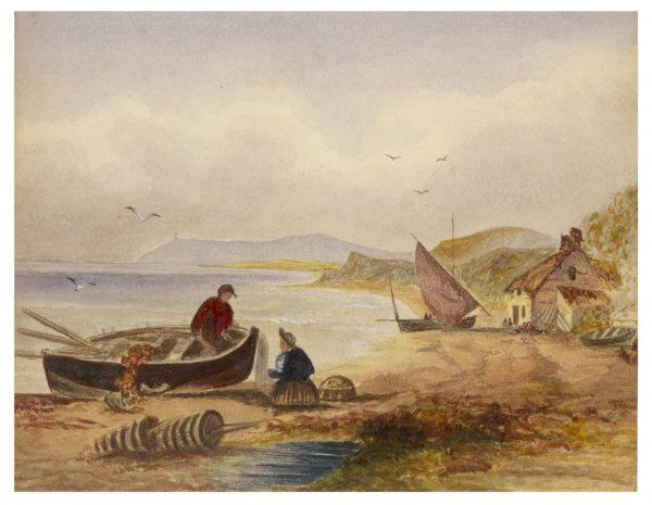 A fishing boat on the sands right outside a shore-line cottage, a calm 'mill-pond' sea, a fishermen in his boat & his mate resting on a crab- pot