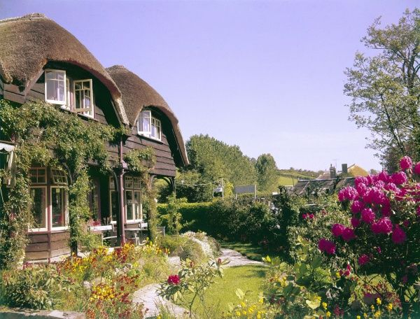 Traditional thatched fishermen's cottages with lovely gardens, Cornwall, England. Date: 1967