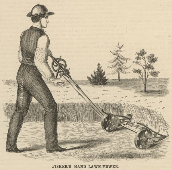 Fisher's hand lawn mower