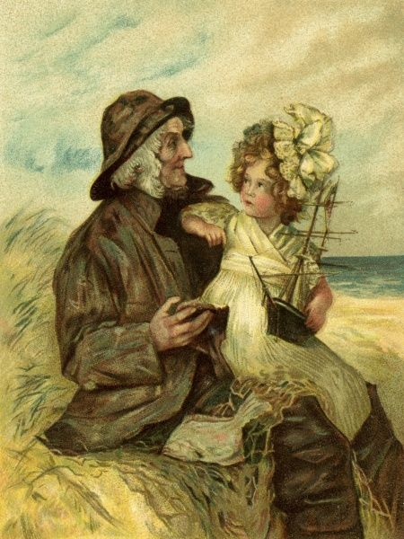 Where the Fishes Come From. Artist: Anon. An old sailor sitting on the shore, spins a yarn to an attentive little girl holding a model sailing vessel Date: circa 1905