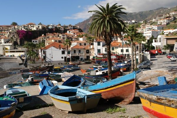 Fishing boats on the shore at Camara de Lobos on the south coast of Madeira, not far from Funchal
