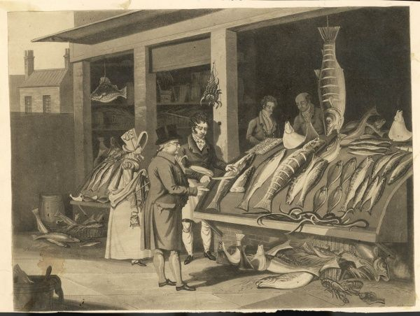 A wealthy gent selects a portion of fish from a fantastically well-stocked Fishmonger's shop. Every type of potentially-edible marine creature appear to be for sale