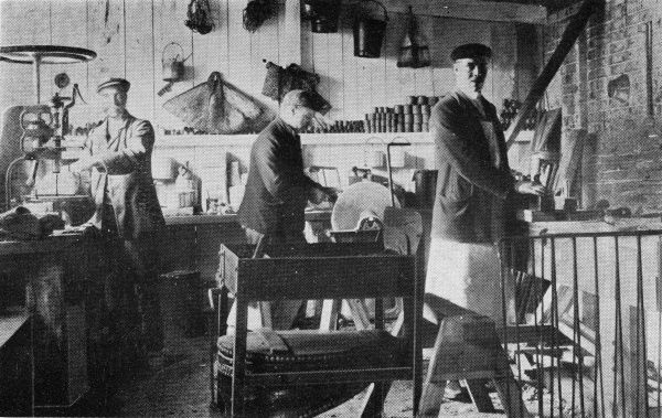 Scene in the fitter's workshop at the Eastern Counties or East Harling Inebriates Reformatory, Norfolk. Housed in the former Guiltcross Union workhouse, the institution was one of several operated by National Institutions for Inebriates