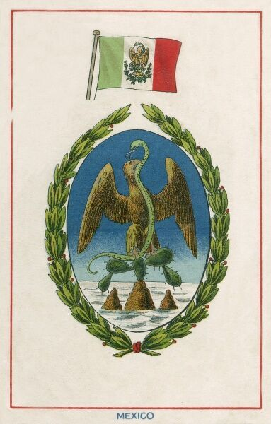 The Flag and Arms of Mexico. The coat of arms features an eagle, holding a serpent in its talon, perched on top of a prickly pear cactus situated on a rock that rising above a lake