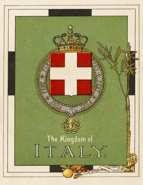 The Flag and crest of the Kingdom of Italy