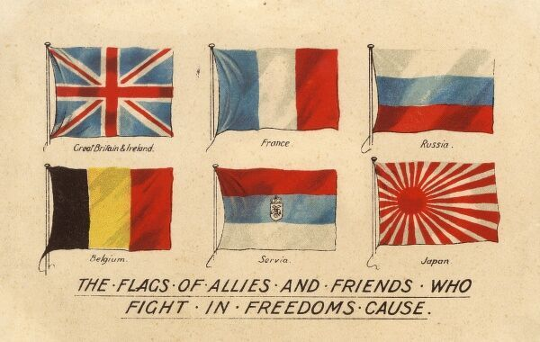 Flags of the Allied countries during WWI circa 1916