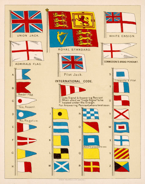 Some of the signal flags of Royal Navy including the Royal Standard, White Ensign, Union Jack