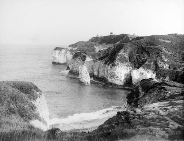 A glimpse of the famous cliffs at Flamborough Head on the coast of Yorkshire, England. Date: 1930s