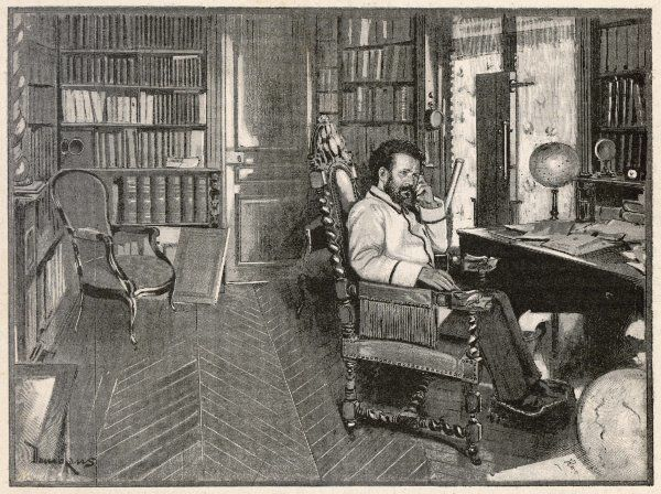 CAMILLE FLAMMARION - French scientist and astronomer in his study