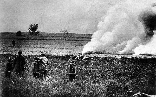 German flame-projectors, or 'flammenwerfer' being tested by French soldiers. The Germans used Flammenwerfer against the British at Hooge on August 9th 1915