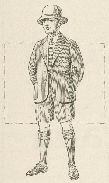 Smart young lad in a grey flannel hat & suit of shorts & jacket with patch pockets & rounded front borders worn with knee-length socks & shoes & a striped tie